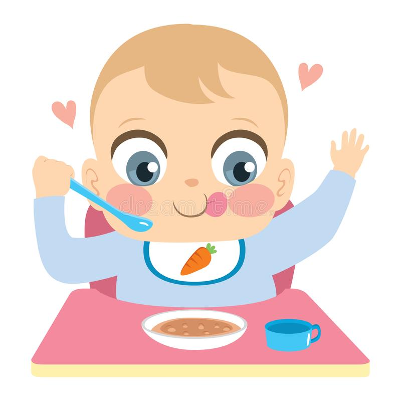 The Baby With A Spoon In Hand Eats. Stock Vector ...