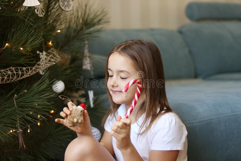 Cute little happy girl decorating Christmas tree holding striped candy cane and hedgehog toy in red ha royalty free stock photography