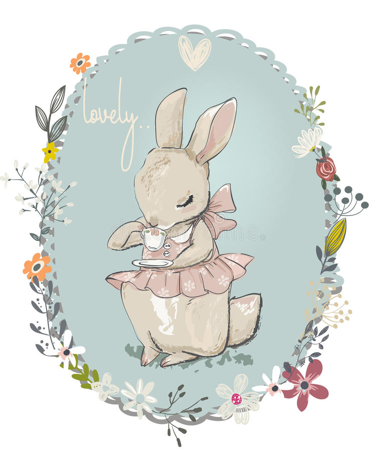 Cute little hares with flowers stock illustration