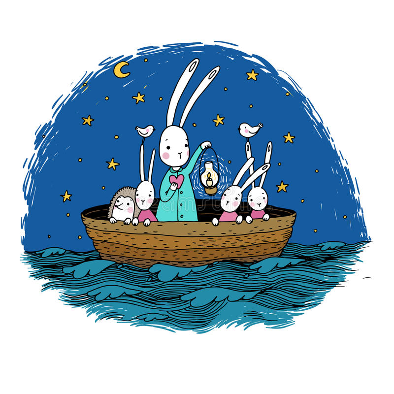 Cute little hares and hedgehog floating in a boat on the river. Night sky. Lantern, the heart and birds. Hand drawing isolated objects on white background stock illustration