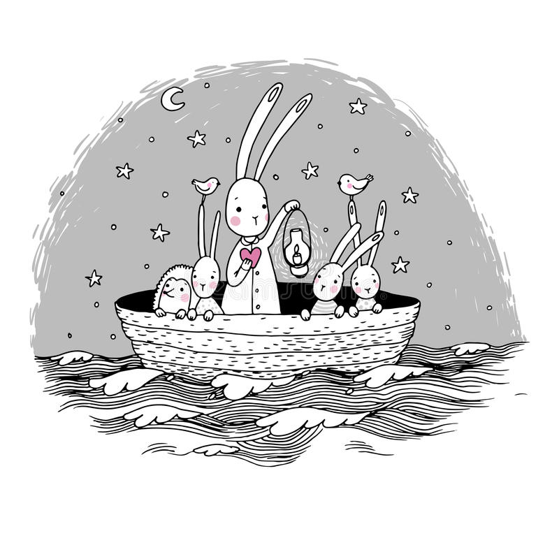 Cute little hares and hedgehog floating in a boat on the river. Night sky. Lantern, the heart and birds. Hand drawing isolated objects on white background vector illustration