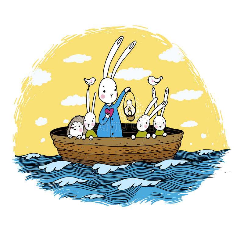 Cute little hares and hedgehog floating in a boat on the river. Night sky. Lantern, the heart and birds. Hand drawing objects on white background. Vector stock illustration
