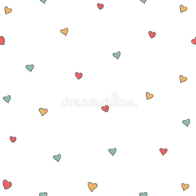 Cute Little Hearts Background. Seamless Pattern with hearts. vector illustration