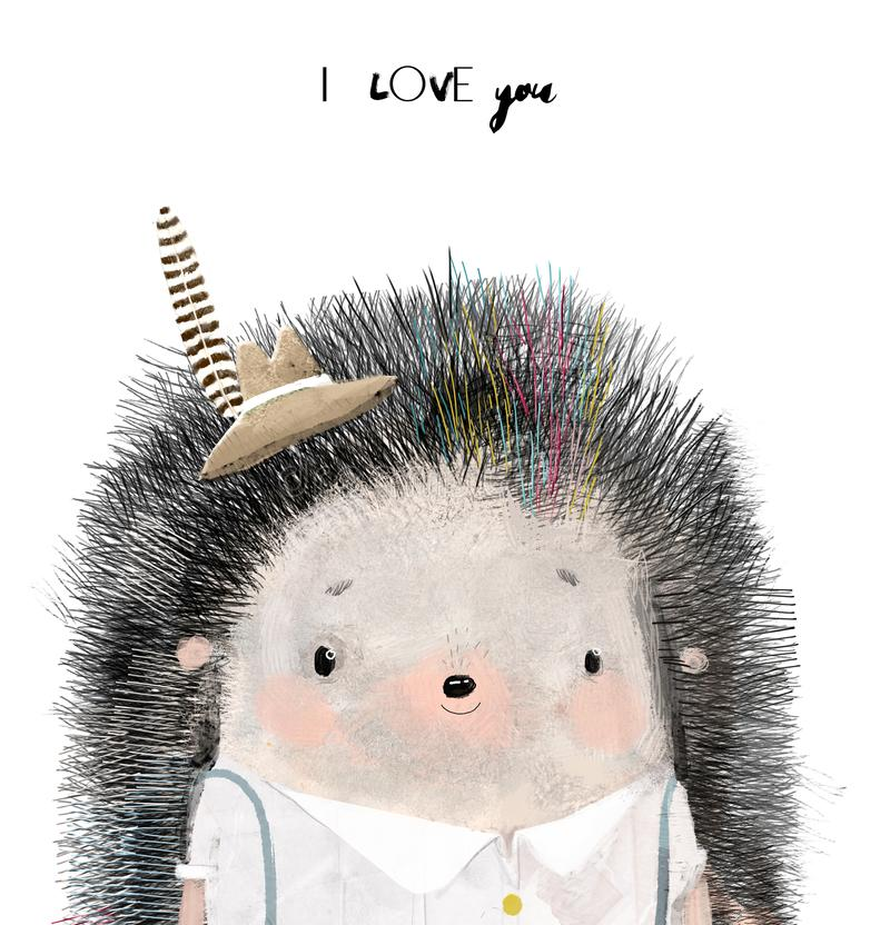 Cute little Hedgehog girl with hat. Cute little Hedgehog with hat and feather stock images