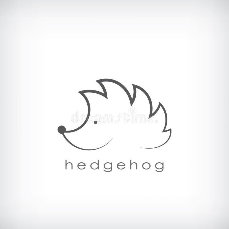 Cute Little Hedgehog Symbol In Simple Outlines Stock Vector