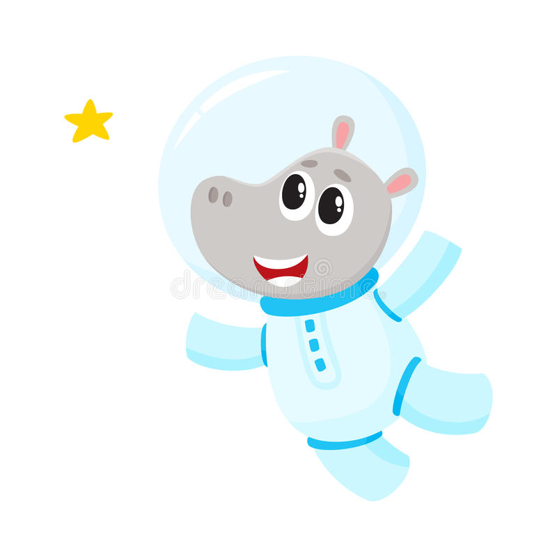 Cute little hippo animal astronaut, spaceman character wearing space suit vector illustration