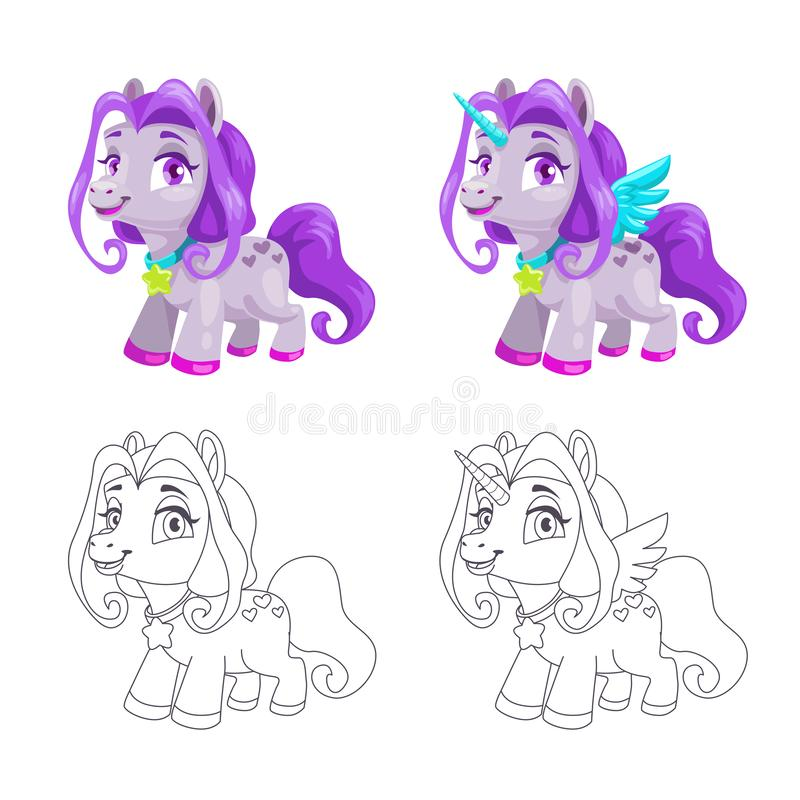 Cute little horse and unicorn icons, colorful and outline versions. royalty free illustration