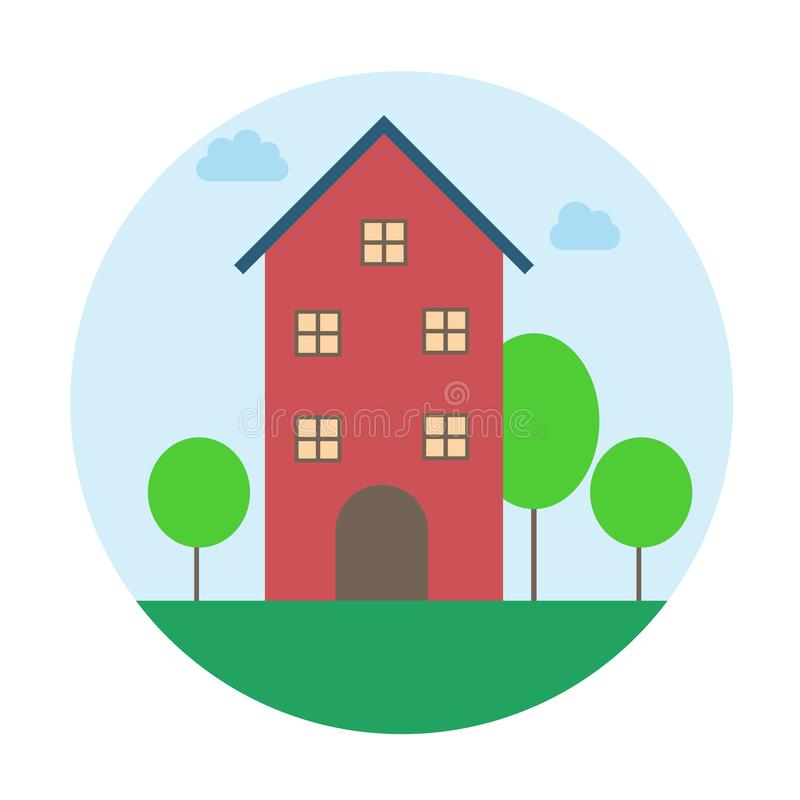 Cute little house icon. nature house. royalty free illustration