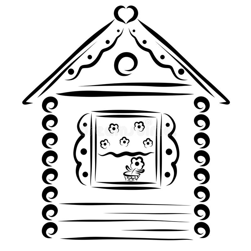 A cute little house made of wood with a flower on the windowsill royalty free illustration