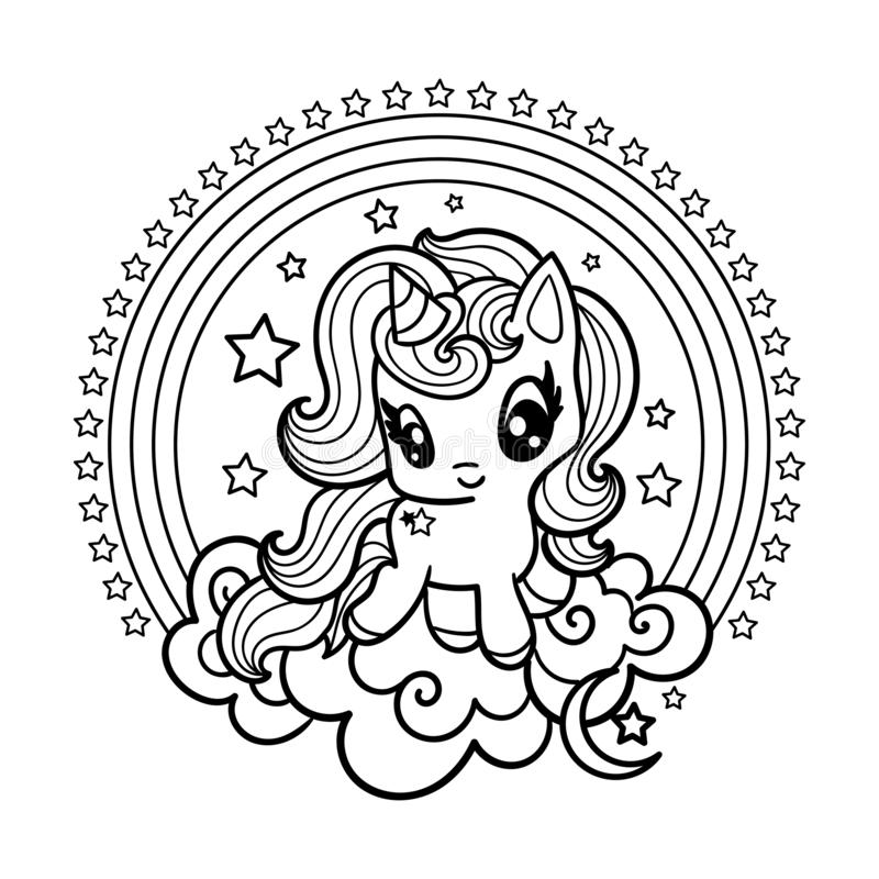 Cute Little Unicorn Black And White Illustration For Coloring Vector Illustration Stock Vector Illustration Of Drawing Cute 157511313