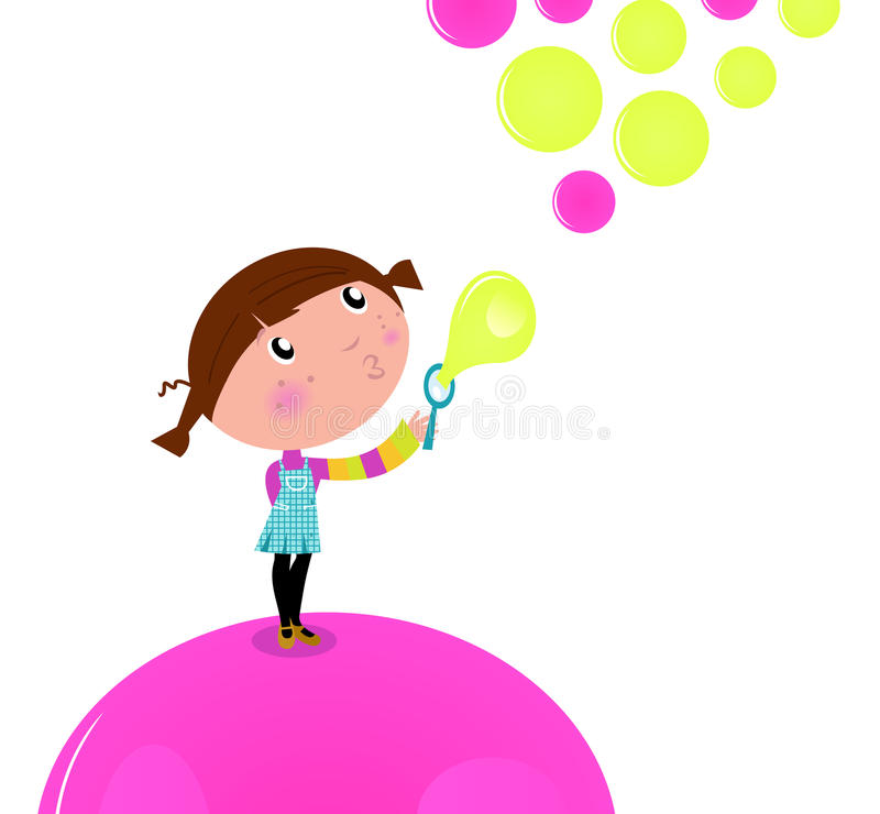 Cute little Kid blowing Soap bubbles. stock illustration