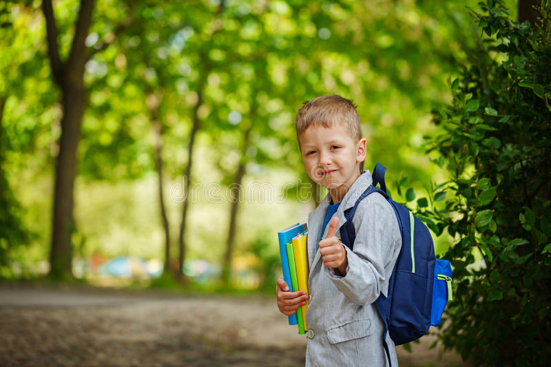 Cute little kid boy with books and backpack on green nature bac royalty free stock image