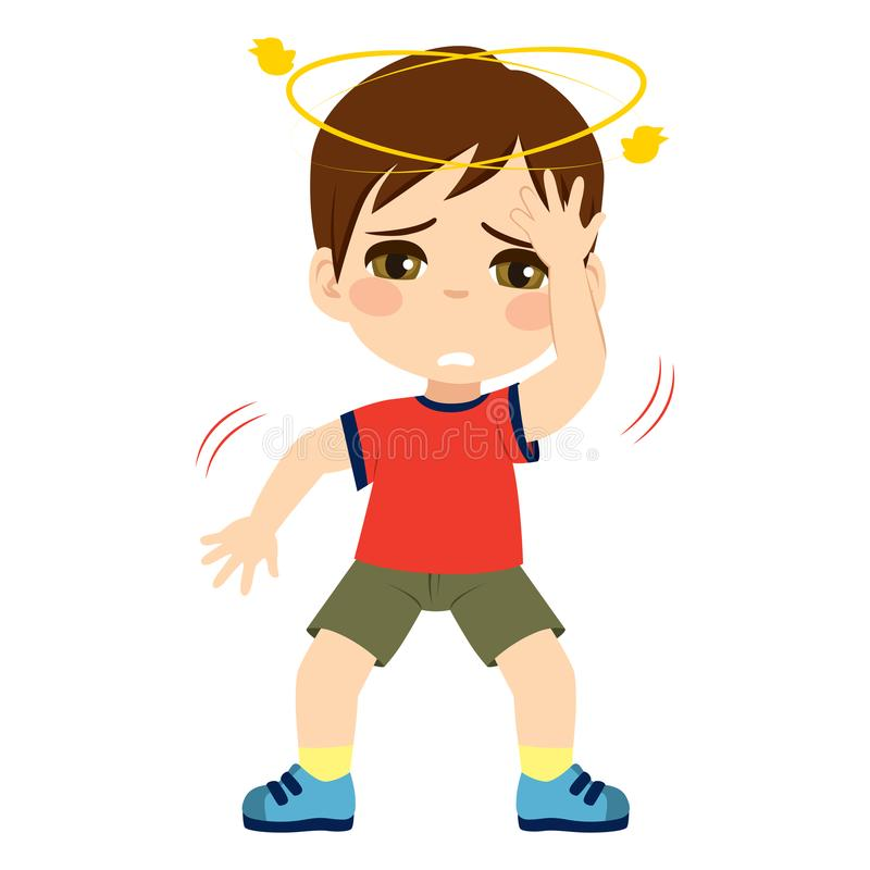 Dizzy Kid Feeling Unwell. Cute little kid boy feeling unwell dizzy vector illustration