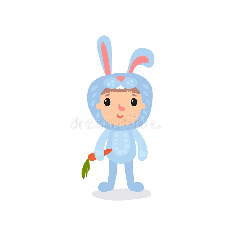 Free Cute Little Kid In Blue Bunny Costume Standing With Carrot In Hand. Cartoon Child Character Dressed In Animal Jumpsuit Royalty Free Stock Image - 105376386
