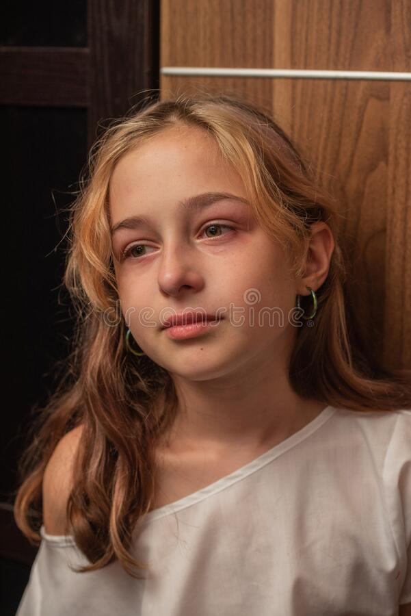 Free Cute Little Kid Is Crying. Portrait Of A Sad Child Girl 9 Or 10 Years Old. Teenager Royalty Free Stock Photo - 197568985