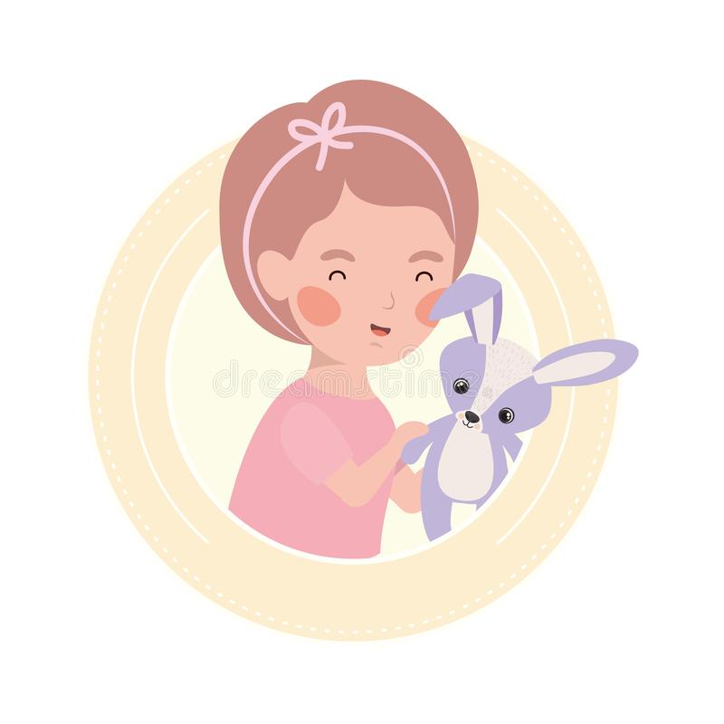 Cute little kid playing with lovely animal. Vector illustration design royalty free illustration