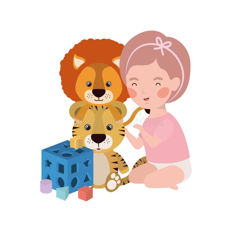 Cute little kid playing with lovely animal. Vector illustration design vector illustration