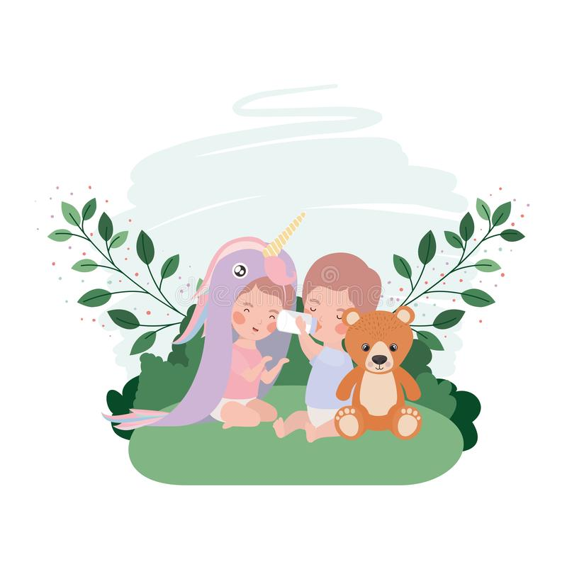 Cute little kid playing with lovely animal. Vector illustration design stock illustration