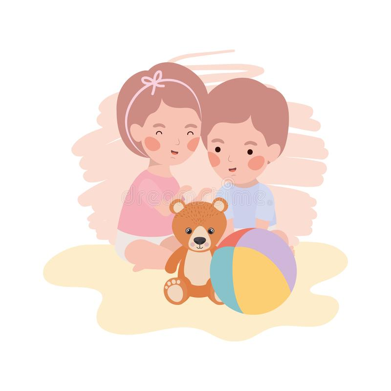 Cute little kids babies with bear teddy toys. Vector illustration design royalty free illustration