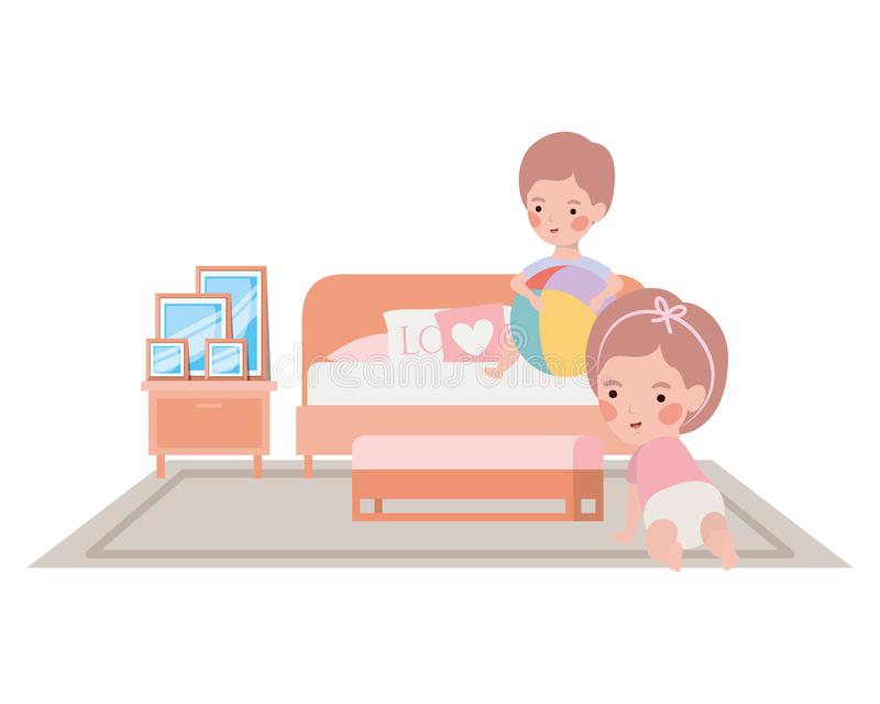 Cute little kids babies in the bedroom characters. Vector illustration design stock illustration