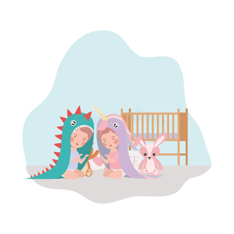 Cute little kids babies with cradle and toys characters. Vector illustration design vector illustration