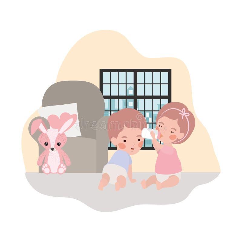 Cute little kids babies in livingroom characters. Vector illustration design royalty free illustration