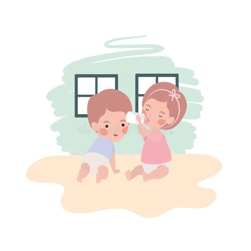 Cute little kids babies with milk bottle characters. Vector illustration design stock illustration