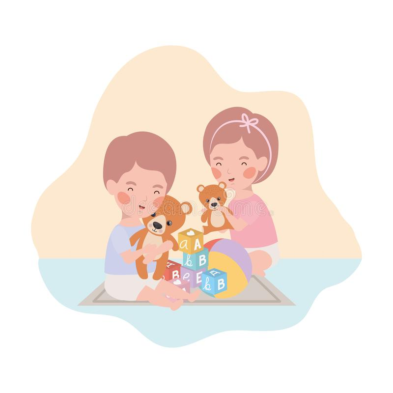 Cute little kids babies playing with toys characters. Vector illustration design vector illustration