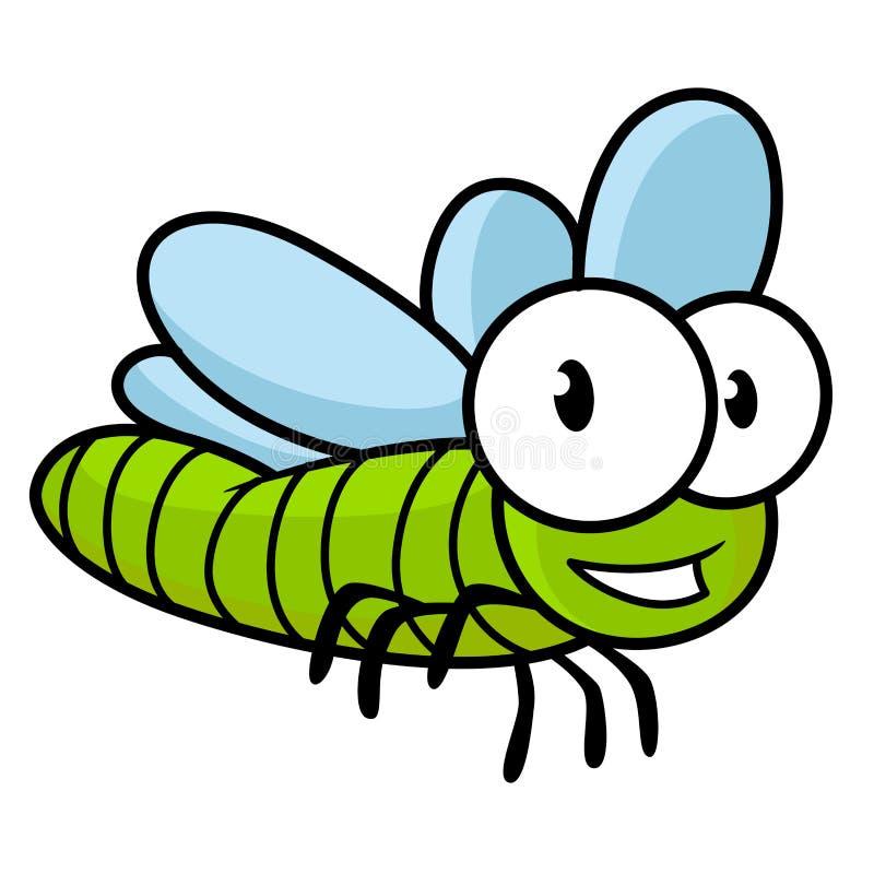 Cute little kids cartoon flying dragonfly stock illustration