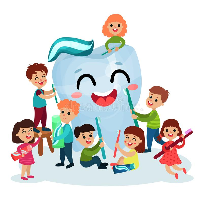 Cute little kids cleaning giant white smiing tooth using toothbrush, oral hygiene for children vector Illustrations. On a white background vector illustration