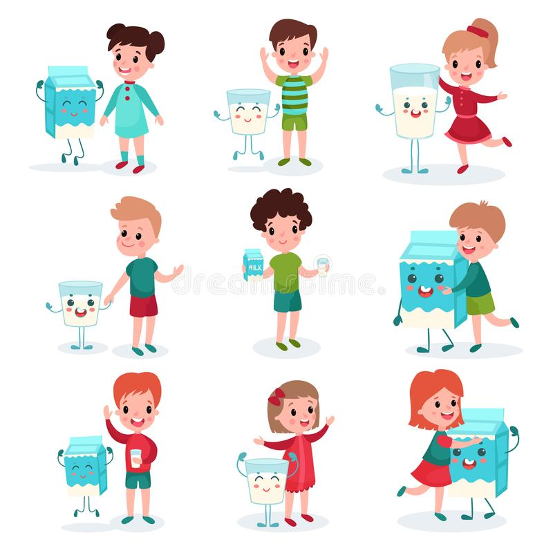 Cute little kids playing and having fun with happy humanized boxes and mugs of milk set, healthy food for childrens. Cartoon vector illustrations isolated on a vector illustration