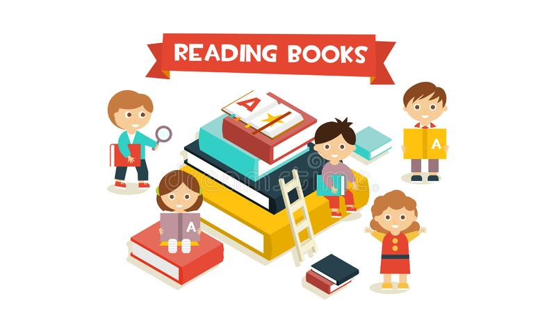 Cute little kids sitting and reading on giant stack of books, reading books concept vector Illustration vector illustration