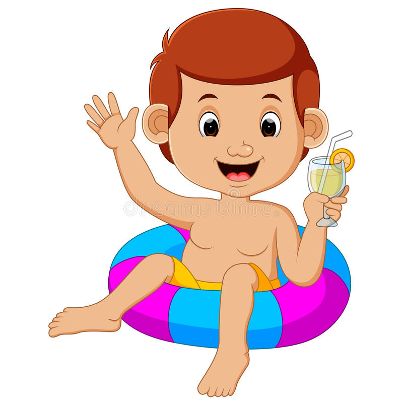 Cute little kids swimming with inflatable circle. Cartoon stock illustration