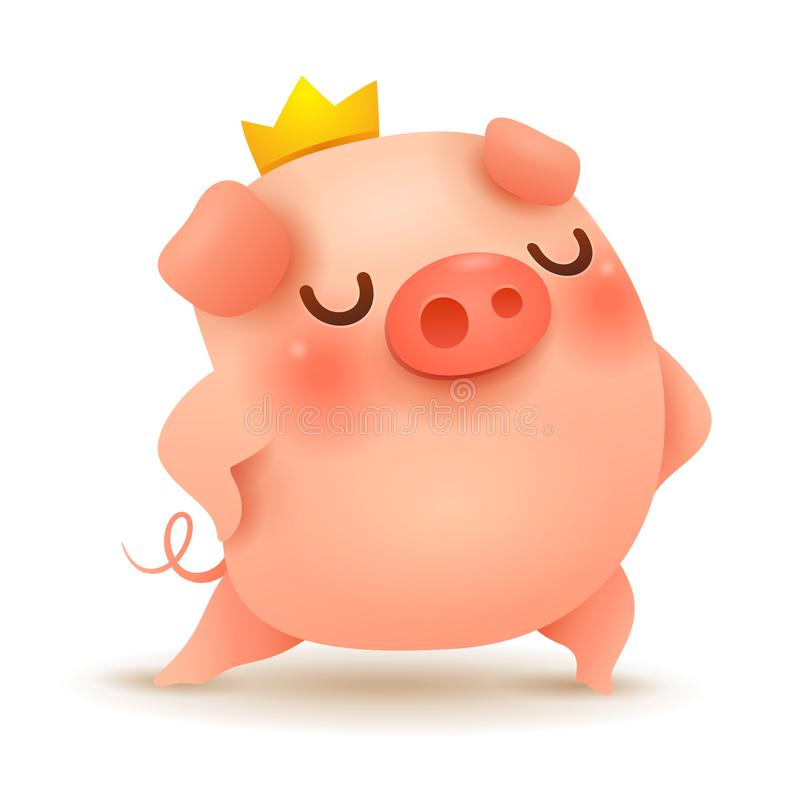 The Cute Little King Pig. stock illustration