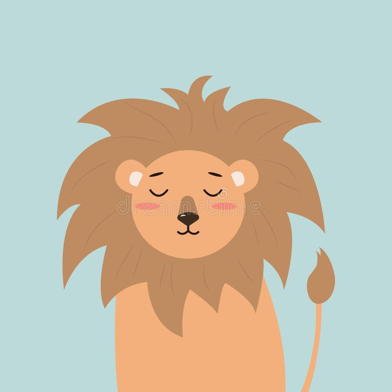 Cute little lion in cartoon style on sky blue background. the soul of the child. vector illustration. Baby greeting card royalty free illustration
