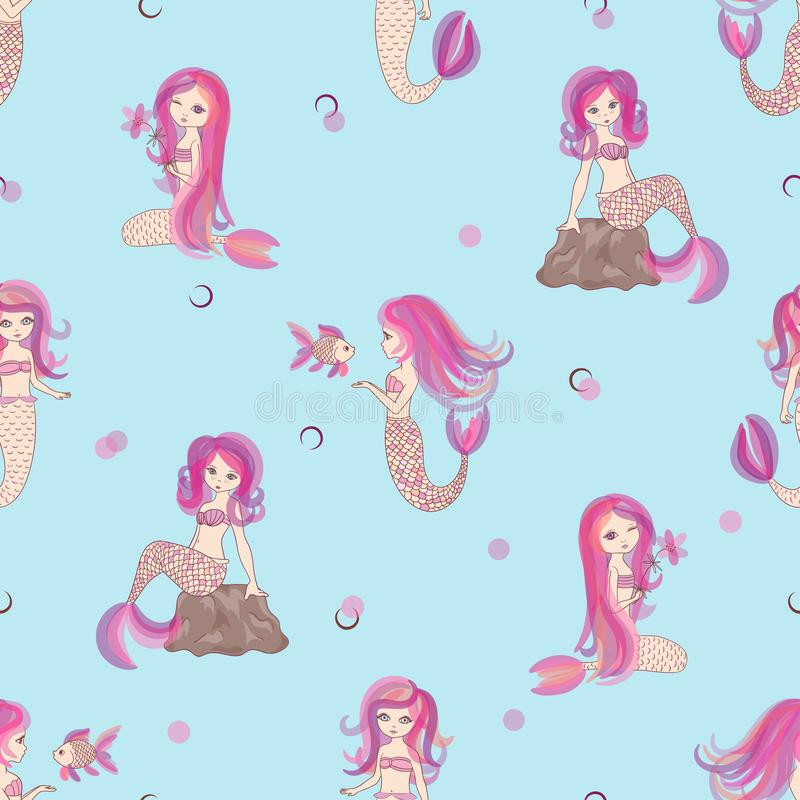 Download Cute Little Mermaid Girls Seamless Pattern Stock Vector