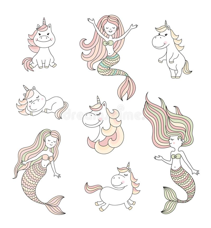 Cute little mermaids and magical unicorns vector set vector illustration