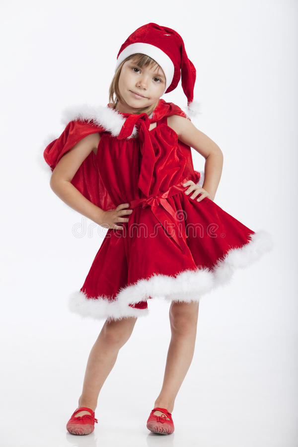 Cute little Miss Santa, 5 years old girl stock image