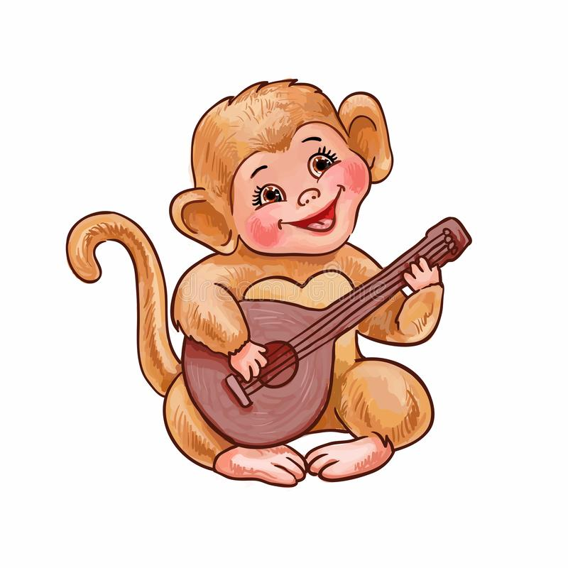 Cute little monkey plays the balalaika, small guitar or ukulele. Hand-drawn vector illustration of funny childish character. Cartoon monkey plays guitar or royalty free illustration