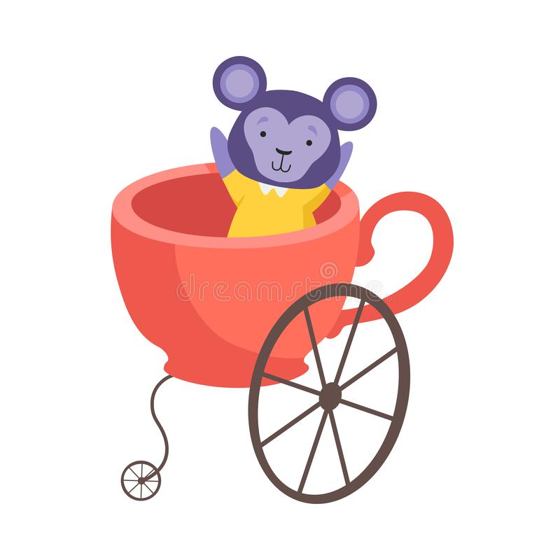 Cute Little Monkey Sitting in Coach Made of Cup, Funny Adorable Animal in Transport Vector Illustration royalty free illustration