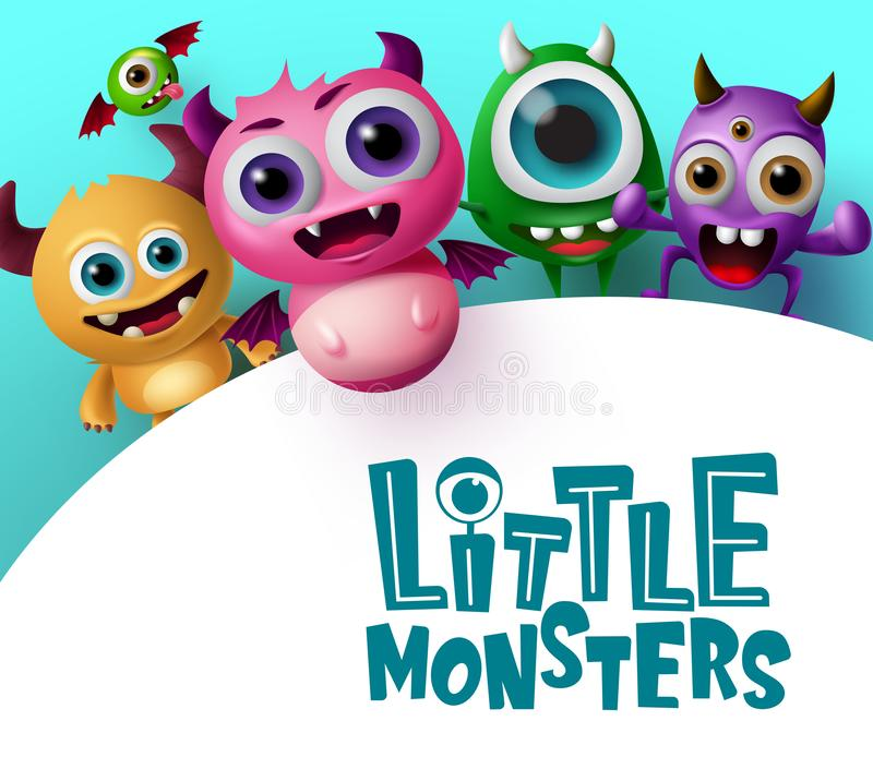Cute little monster characters vector background template. Little monsters text in empty white space for message. S with crazy and scary monster creature in blue vector illustration