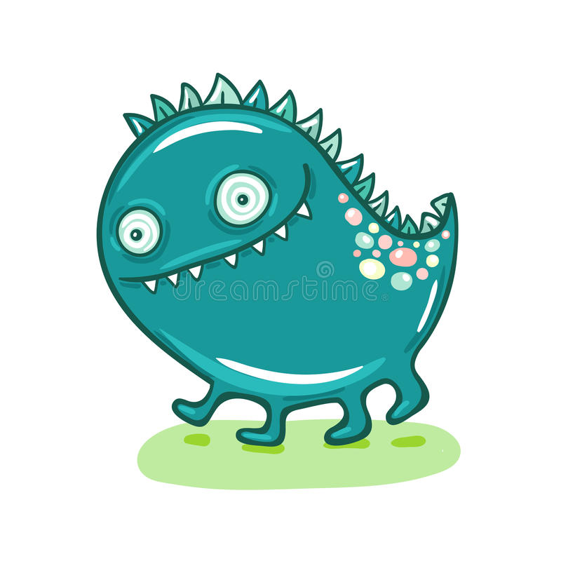Cute Little Monster Illustration. Cute little blue monster illustration vector illustration