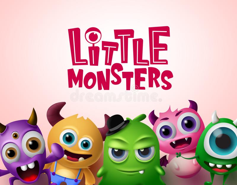 Cute little monsters 3d realistic characters vector background template. Little monsters text. With empty space for messages in red background. Vector vector illustration