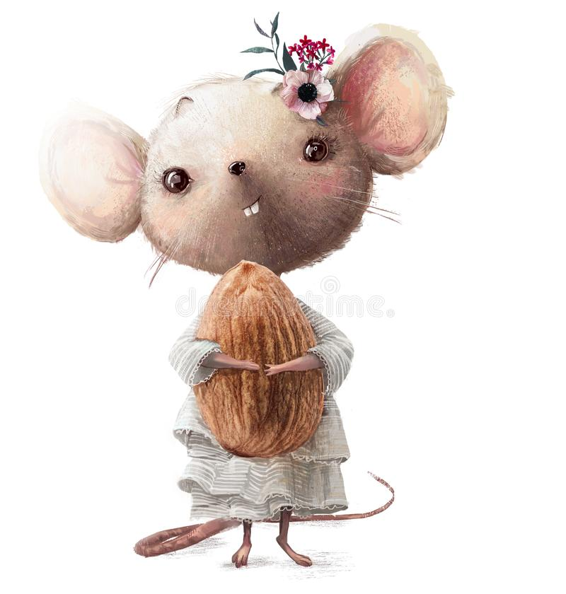Cute little mouse girl with almond. Cute little dressed mouse girl with almond royalty free illustration
