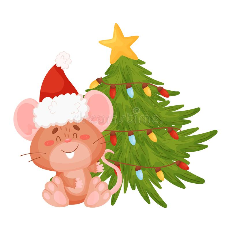 Cute little mouse is sitting near a Christmas tree. Vector illustration on a white background. royalty free illustration