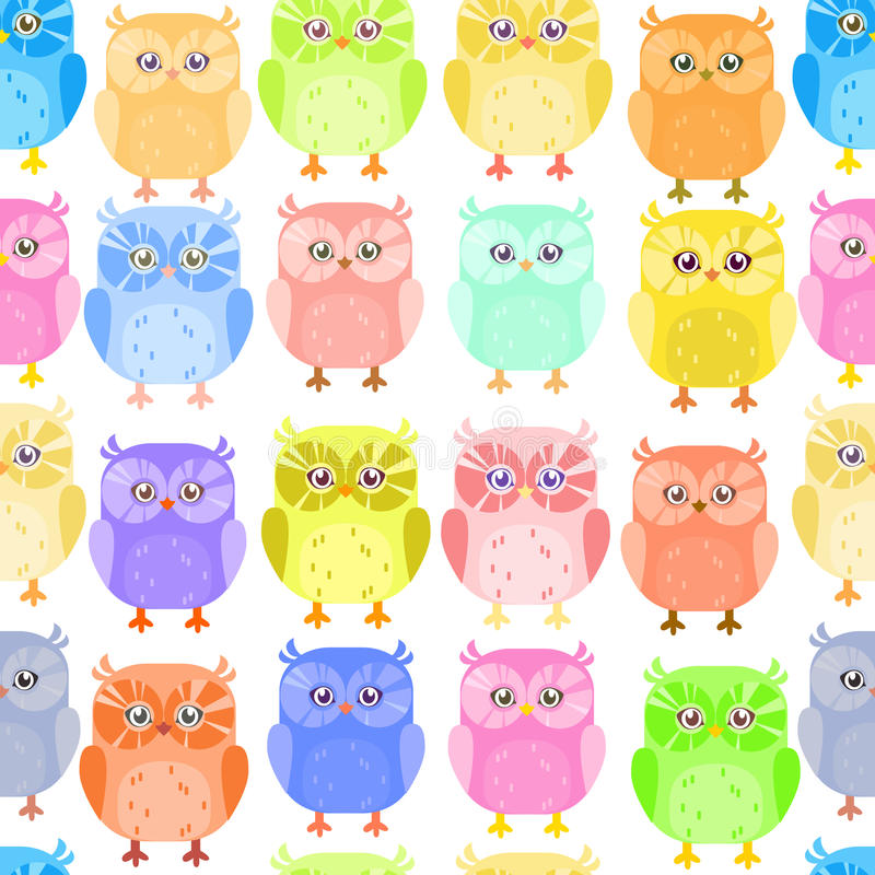 Cute little owl colorful pattern royalty free illustration