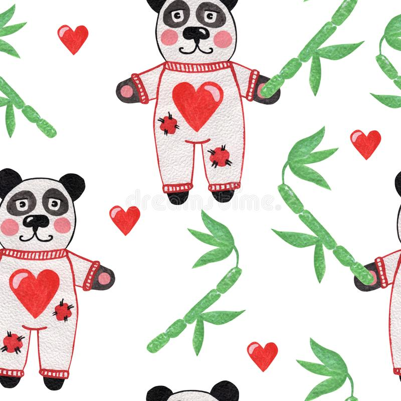 Cute little panda with bamboo and heart seamless pattern royalty free stock photo
