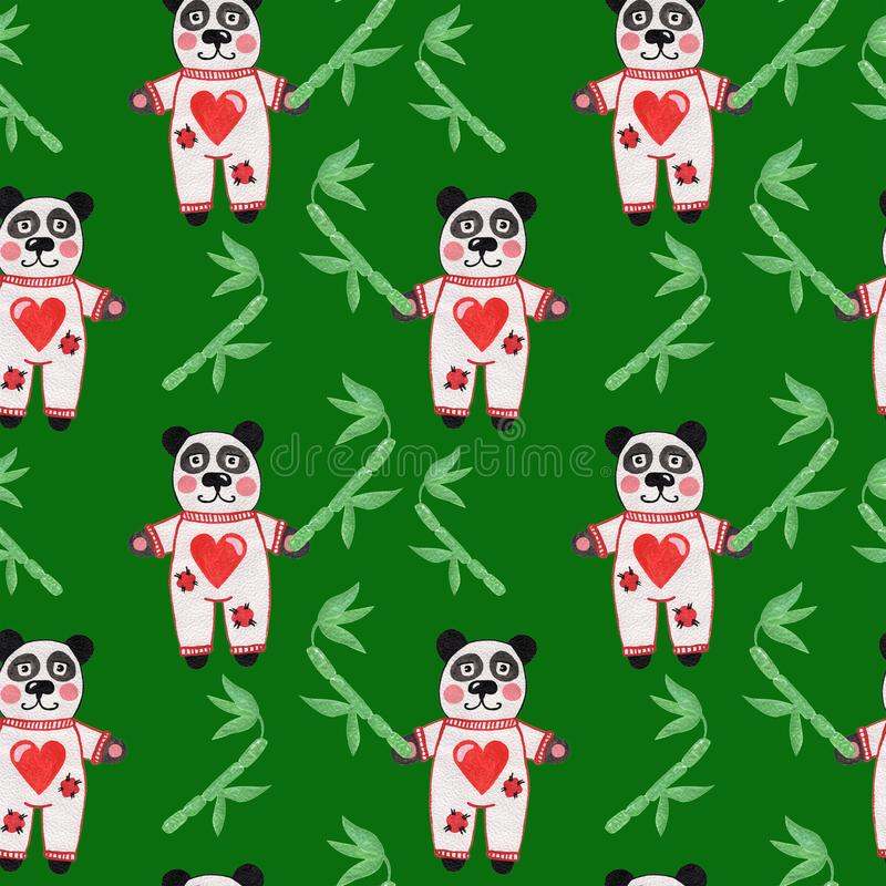 Cute little panda with bamboo and heart seamless pattern stock photo