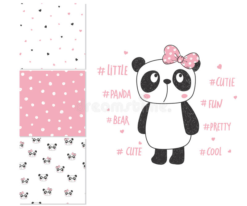Cute little panda. Surface design and 3 seamless patterns vector illustration