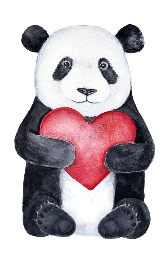 Cute little panda teddy bear holding a big red heart. vector illustration